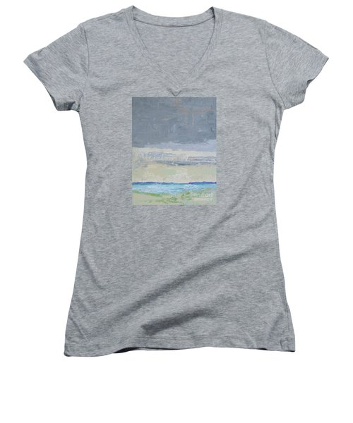 Wind And Rain On The Bay Women's V-Neck T-Shirt (Junior Cut) by Gail Kent