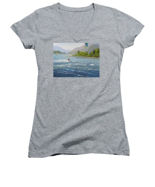 Women's V-Neck T-Shirt (Junior Cut) featuring the painting Wind And Water by Karen Ilari