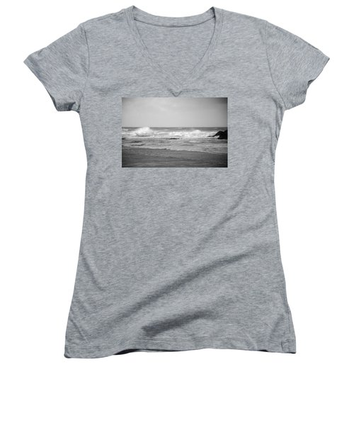 Wind Blown Waves Tofino Women's V-Neck (Athletic Fit)