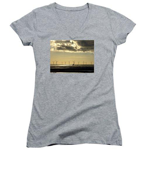 Wind Farm At Sunset Women's V-Neck T-Shirt