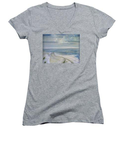 Windblown Women's V-Neck T-Shirt (Junior Cut) by Judy Hall-Folde