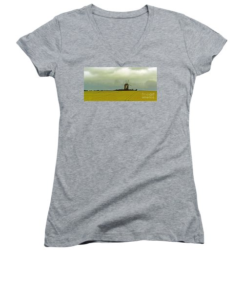 Windmill And Rapeseed And Storm Women's V-Neck T-Shirt