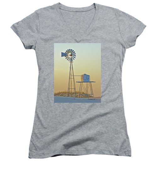 Windmill At Dawn 2011 Women's V-Neck T-Shirt (Junior Cut) by Allen Sheffield