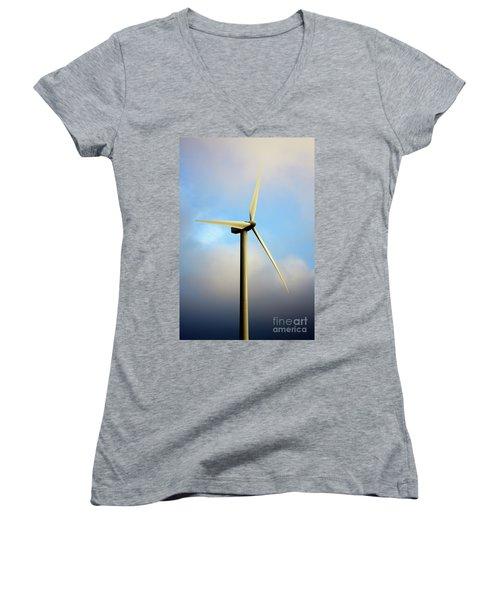 Windmill Dark Blue Sky Women's V-Neck (Athletic Fit)