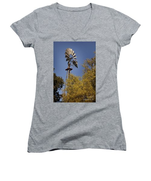 Windmill Women's V-Neck T-Shirt (Junior Cut) by David Millenheft