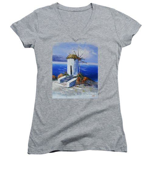 Windmill In Greece Women's V-Neck T-Shirt