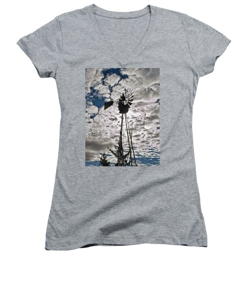Women's V-Neck T-Shirt (Junior Cut) featuring the digital art Windmill In The Clouds by Cathy Anderson