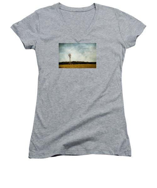 Windmill On The Farm Women's V-Neck T-Shirt (Junior Cut) by Beverly Stapleton