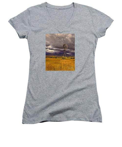 Windmill Women's V-Neck T-Shirt (Junior Cut) by Robert Bales