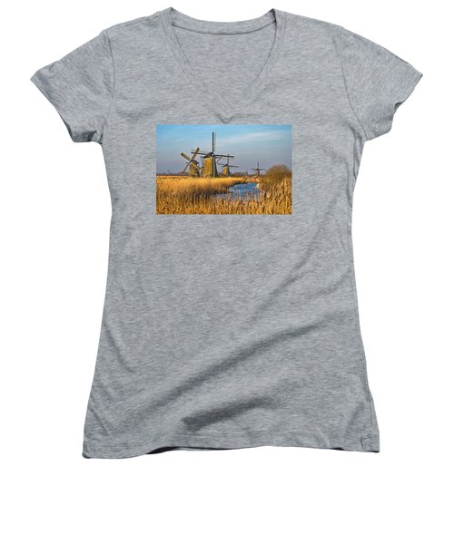 Windmills And Reeds Near Kinderdijk Women's V-Neck T-Shirt