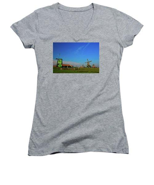 Windmills At Zaanse Schans Women's V-Neck T-Shirt (Junior Cut) by Jonah  Anderson