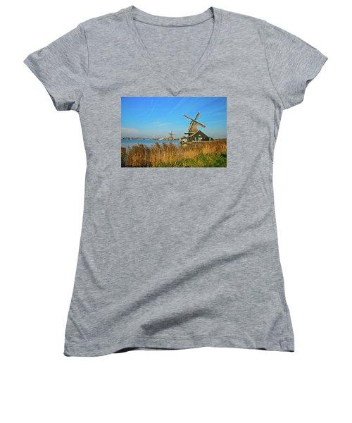 Windmills On De Zaan Women's V-Neck T-Shirt (Junior Cut) by Jonah  Anderson