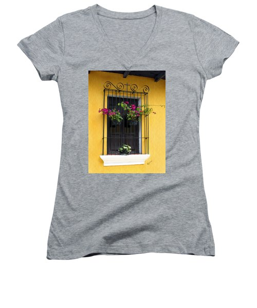 Window At Old Antigua Guatemala Women's V-Neck