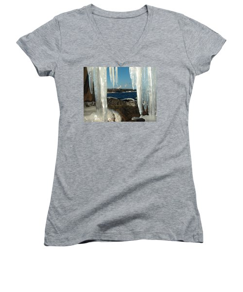 Women's V-Neck T-Shirt (Junior Cut) featuring the photograph Window Into Minnesota by James Peterson