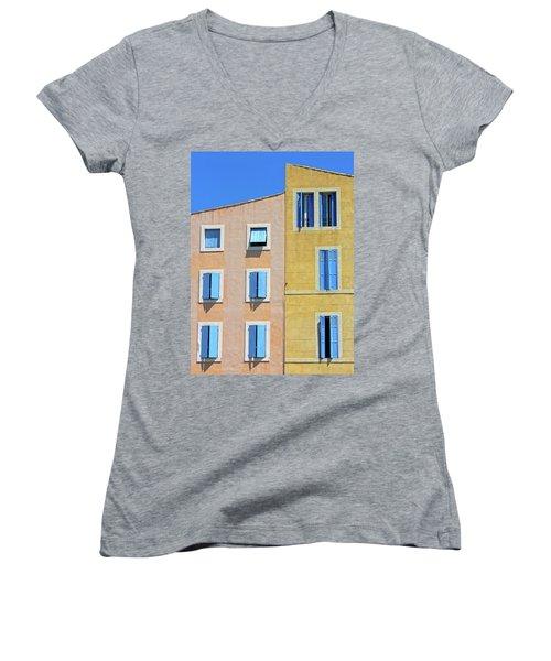 Women's V-Neck T-Shirt (Junior Cut) featuring the photograph Windows Martigues Provence France by Dave Mills
