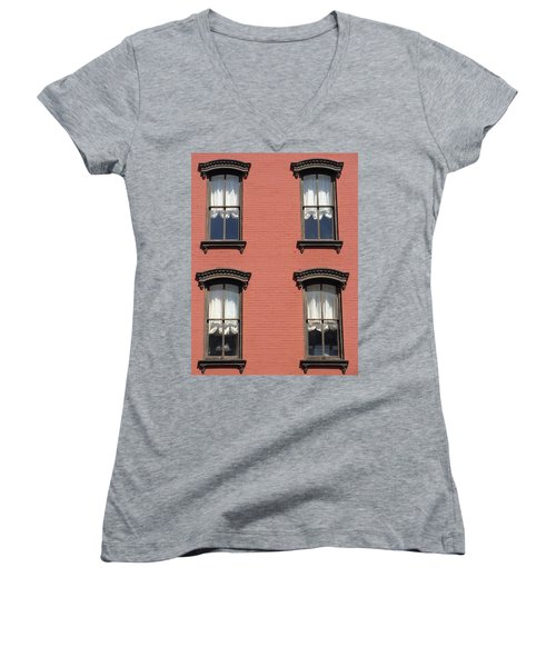 Women's V-Neck T-Shirt (Junior Cut) featuring the photograph Window's Of Hudson Ny by Ira Shander
