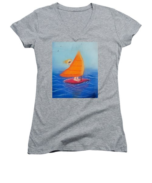 Windsurfer Dude Women's V-Neck T-Shirt