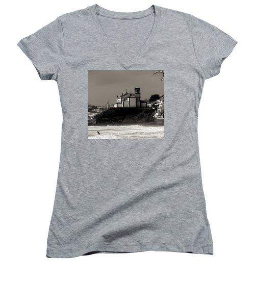 Windsurfer On Ocean In Back Of Church Women's V-Neck T-Shirt