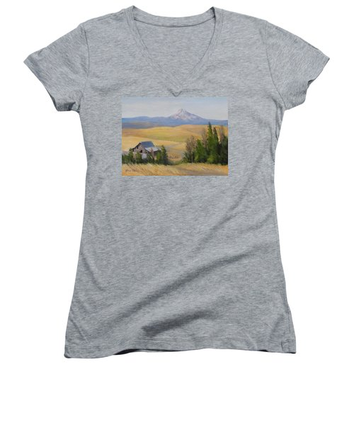 Women's V-Neck T-Shirt (Junior Cut) featuring the painting Windswept by Karen Ilari