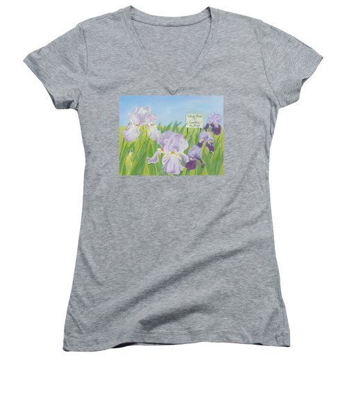 Women's V-Neck T-Shirt (Junior Cut) featuring the painting Windy Brae Gardens by Arlene Crafton