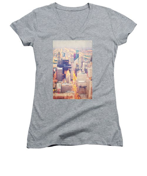 Windy City Lights - Chicago Women's V-Neck (Athletic Fit)