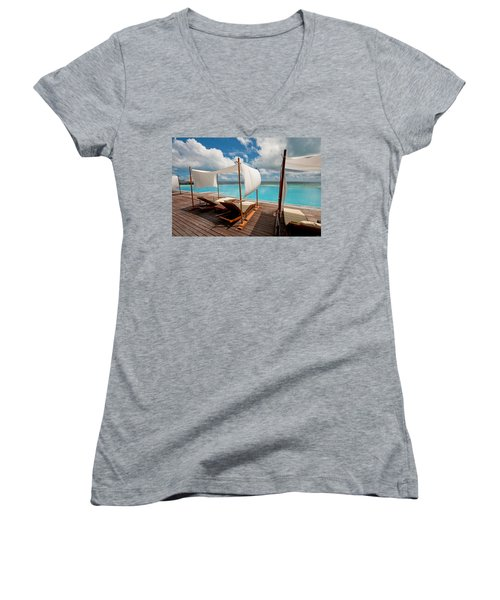 Windy Day At Maldives Women's V-Neck