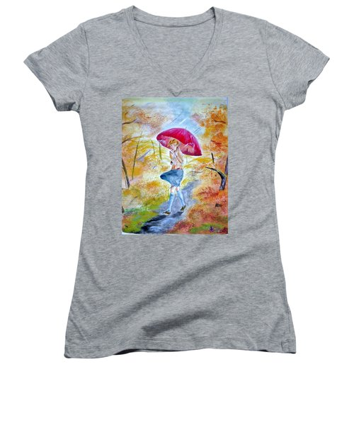 Windy Day Women's V-Neck T-Shirt