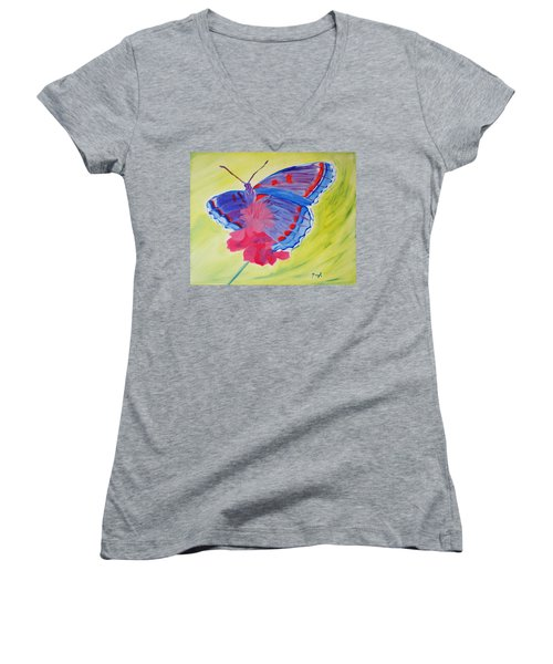 Women's V-Neck T-Shirt (Junior Cut) featuring the painting Winged Delight by Meryl Goudey