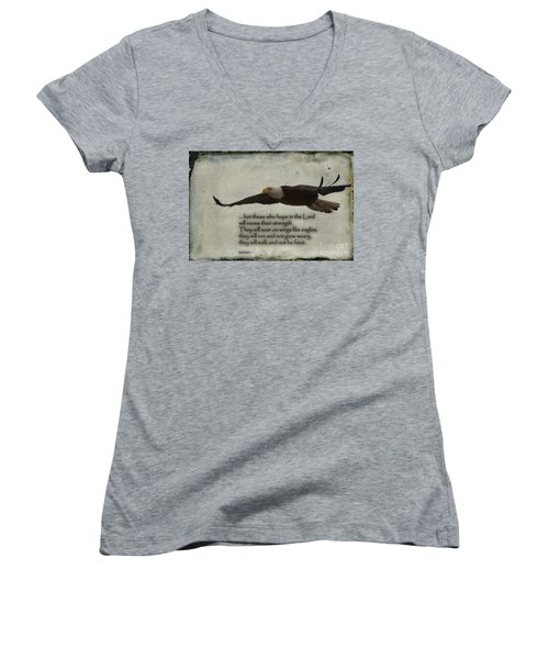 Wings Like Eagles Women's V-Neck (Athletic Fit)