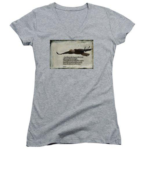 Wings Like Eagles Women's V-Neck T-Shirt