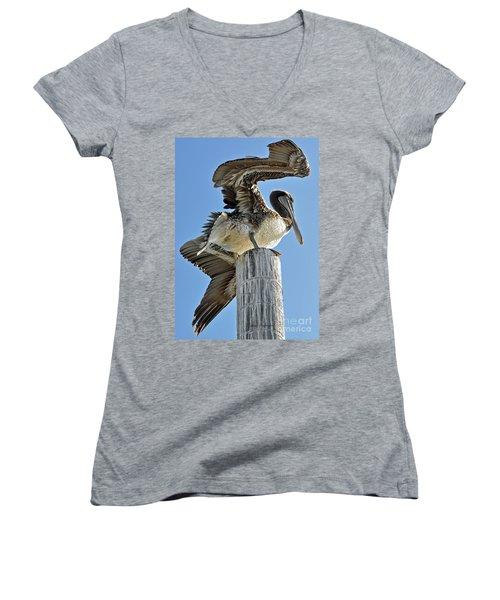 Wings Of A Pelican Women's V-Neck T-Shirt (Junior Cut) by Susan Wiedmann