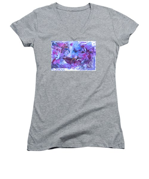 Wings Of Joy Women's V-Neck T-Shirt (Junior Cut) by Deprise Brescia