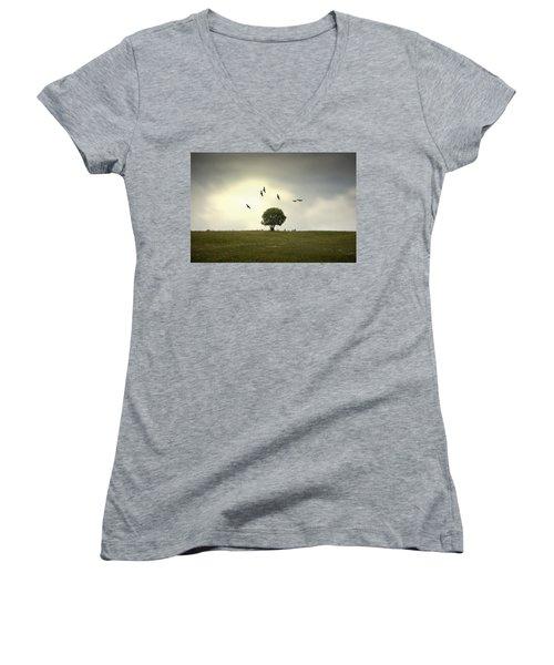 Wings Over The Tree Women's V-Neck T-Shirt (Junior Cut) by Alfio Finocchiaro