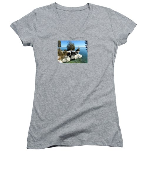 Winter At Cave Point Women's V-Neck T-Shirt