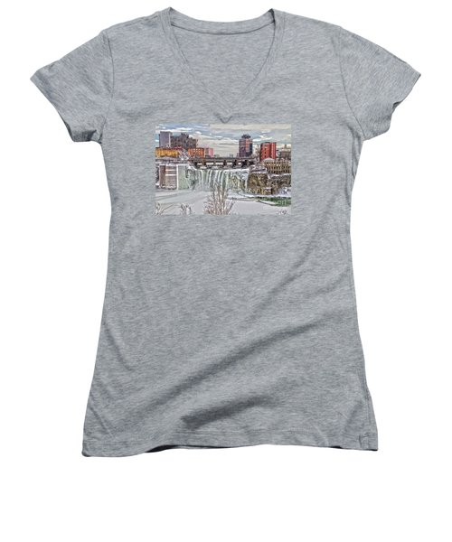 Winter At High Falls Women's V-Neck T-Shirt