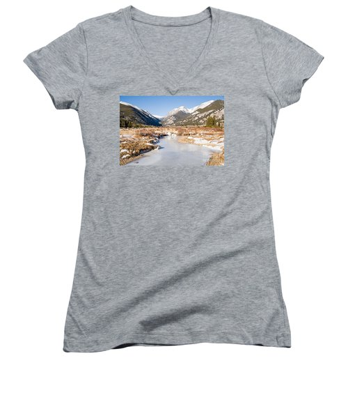 Winter At Horseshoe Park In Rocky Mountain National Park Women's V-Neck (Athletic Fit)