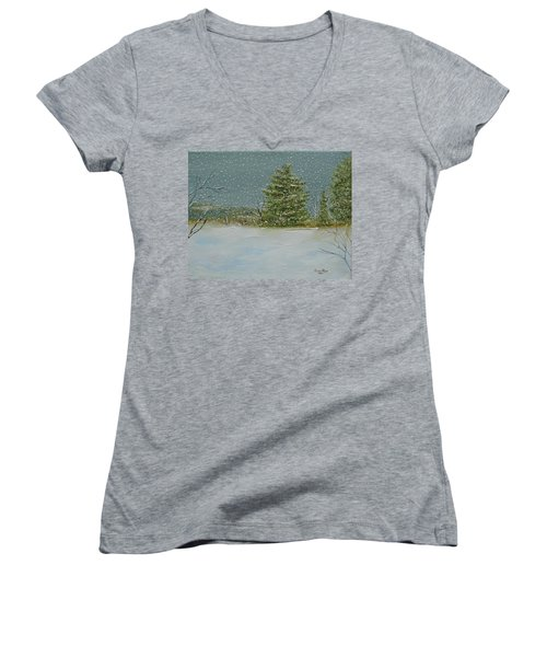 Women's V-Neck T-Shirt featuring the painting Winter Blanket by Judith Rhue