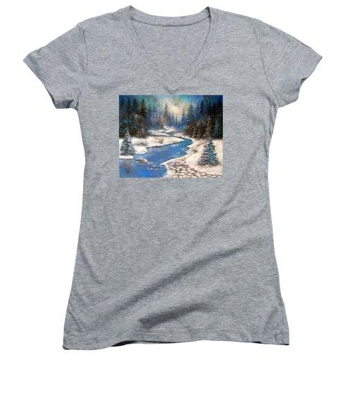 One Little Blue Women's V-Neck T-Shirt
