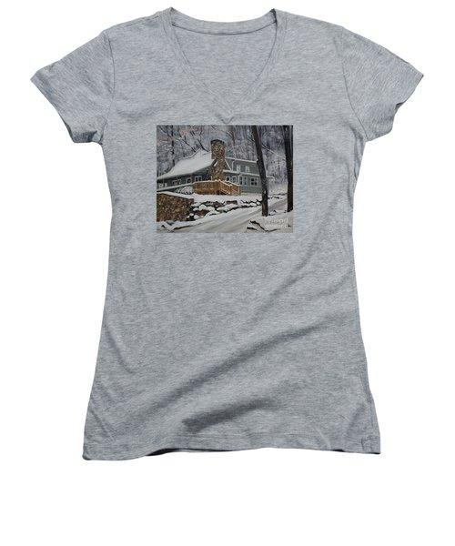 Winter - Cabin - In The Woods Women's V-Neck