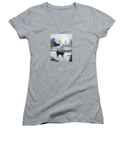 Women's V-Neck T-Shirt (Junior Cut) featuring the painting Winter Doe by Sheri Keith