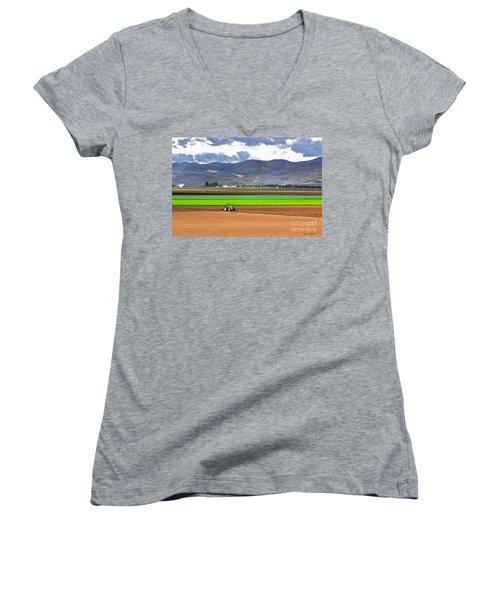Winter Farm In California Women's V-Neck T-Shirt (Junior Cut)