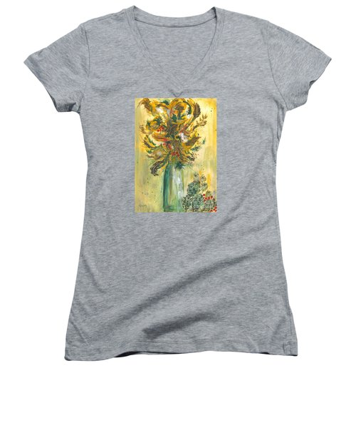Winter Flowers Women's V-Neck T-Shirt (Junior Cut) by Veronica Rickard