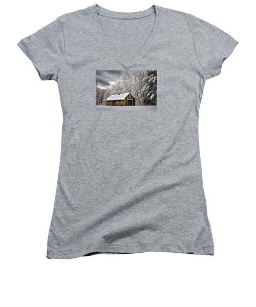Winter Glow Women's V-Neck T-Shirt (Junior Cut) by Tricia Marchlik