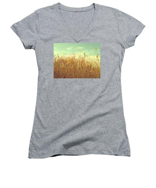 Winter Grass Women's V-Neck T-Shirt