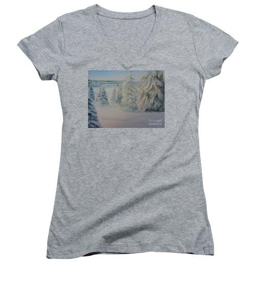 Winter In Gyllbergen Women's V-Neck T-Shirt (Junior Cut) by Martin Howard