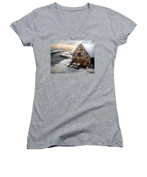 Winter Ipswich Bay Wooden Buoys  Women's V-Neck T-Shirt