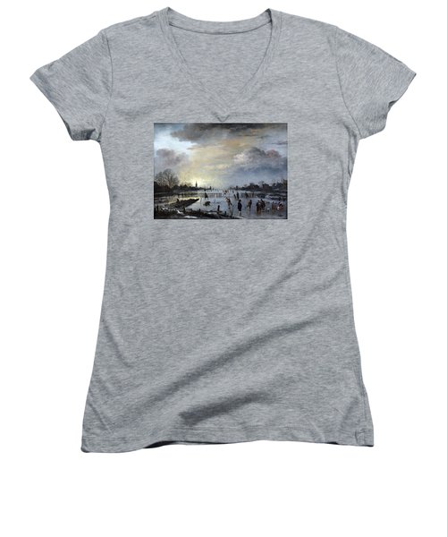 Women's V-Neck T-Shirt (Junior Cut) featuring the painting Winter Landscape With Skaters by Gianfranco Weiss
