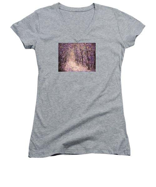 Winter Magic Women's V-Neck T-Shirt (Junior Cut) by Natalie Holland