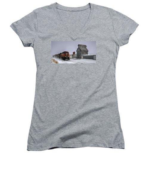 Winter Mixed Freight Through Castle Rock Women's V-Neck T-Shirt