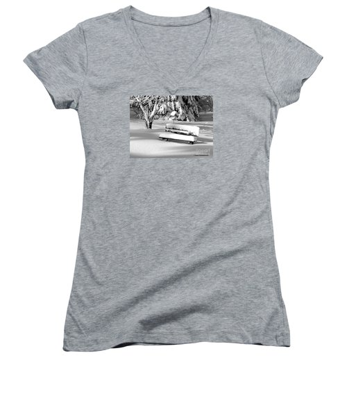Women's V-Neck T-Shirt (Junior Cut) featuring the photograph Winter Morning by Susan  Dimitrakopoulos